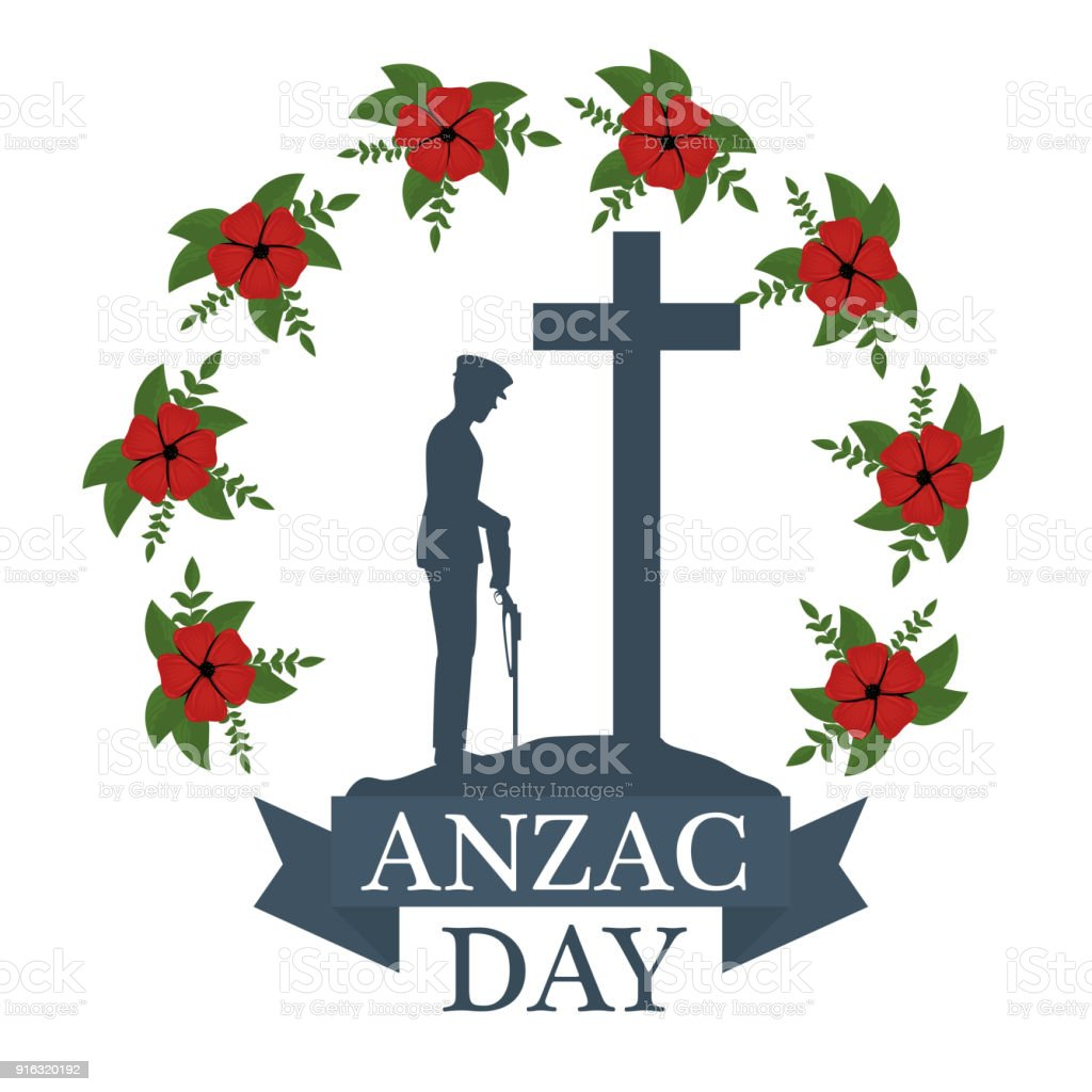 Anzac Day Poster With Soldier Standing Guard Stock Illustration Download Image Now Istock