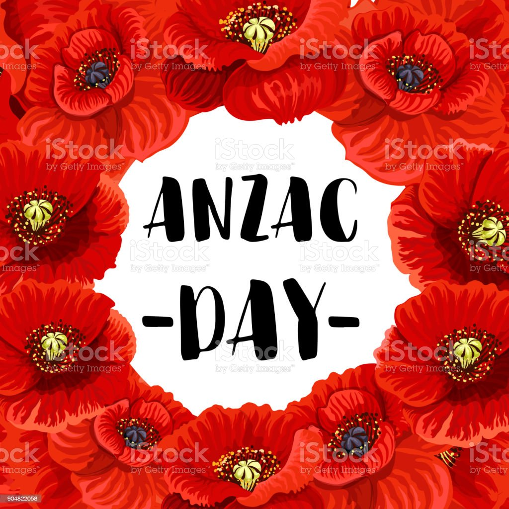 Anzac Day war memorial day red poppy vector poster vector art illustration