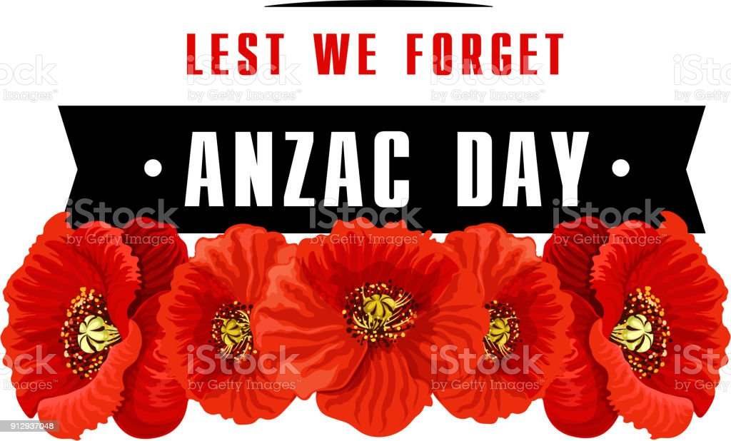 Anzac poppy flower icon with Lest We Forget banner vector art illustration