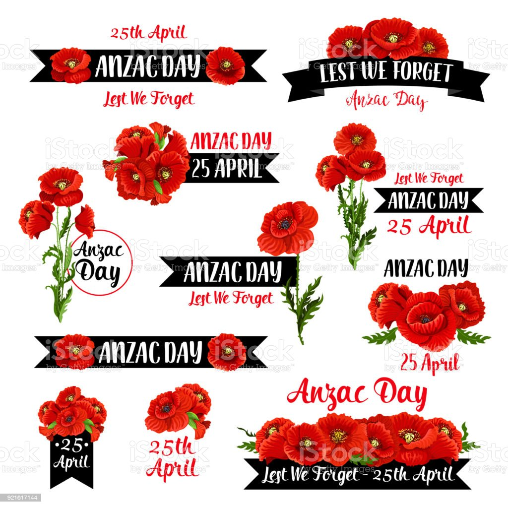 Anzac Remembrance Day badge of red poppy flower vector art illustration