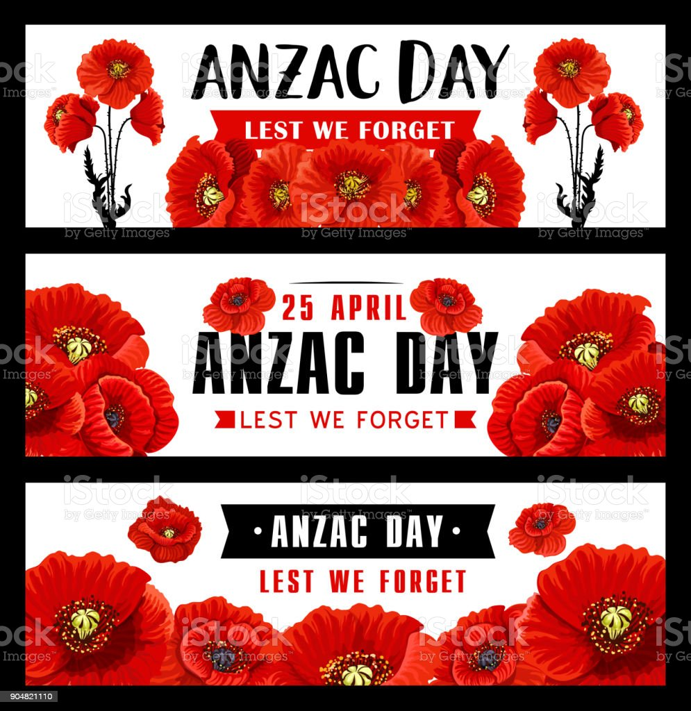 Anzac Remembrance Day banner with red poppy flower vector art illustration