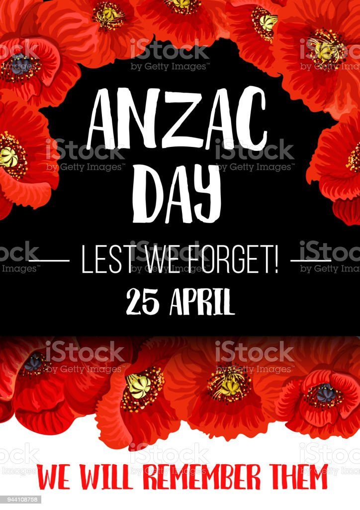 Anzac remembrance day red poppy flower banner stock vector art anzac remembrance day red poppy flower banner royalty free anzac remembrance day red poppy flower mightylinksfo