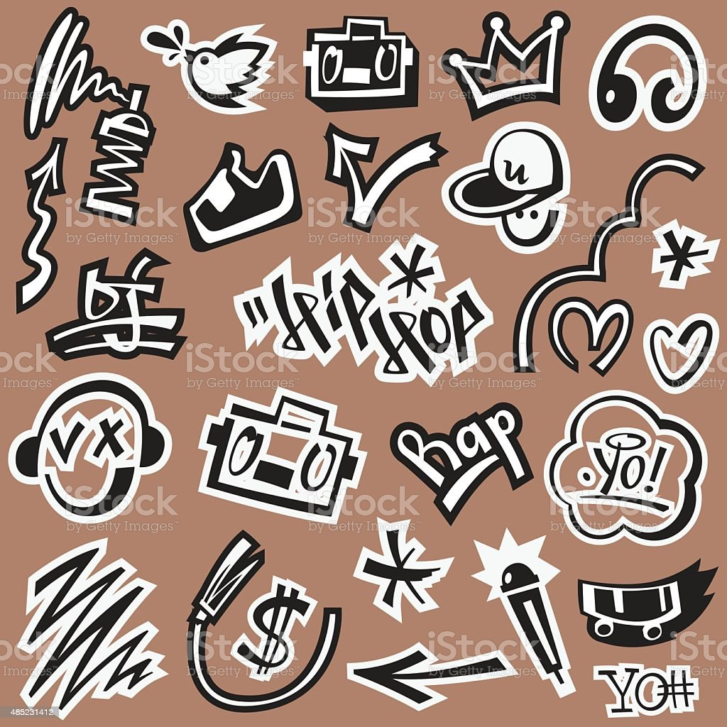 ap music , hip hop , graffiti - vector icons vector art illustration