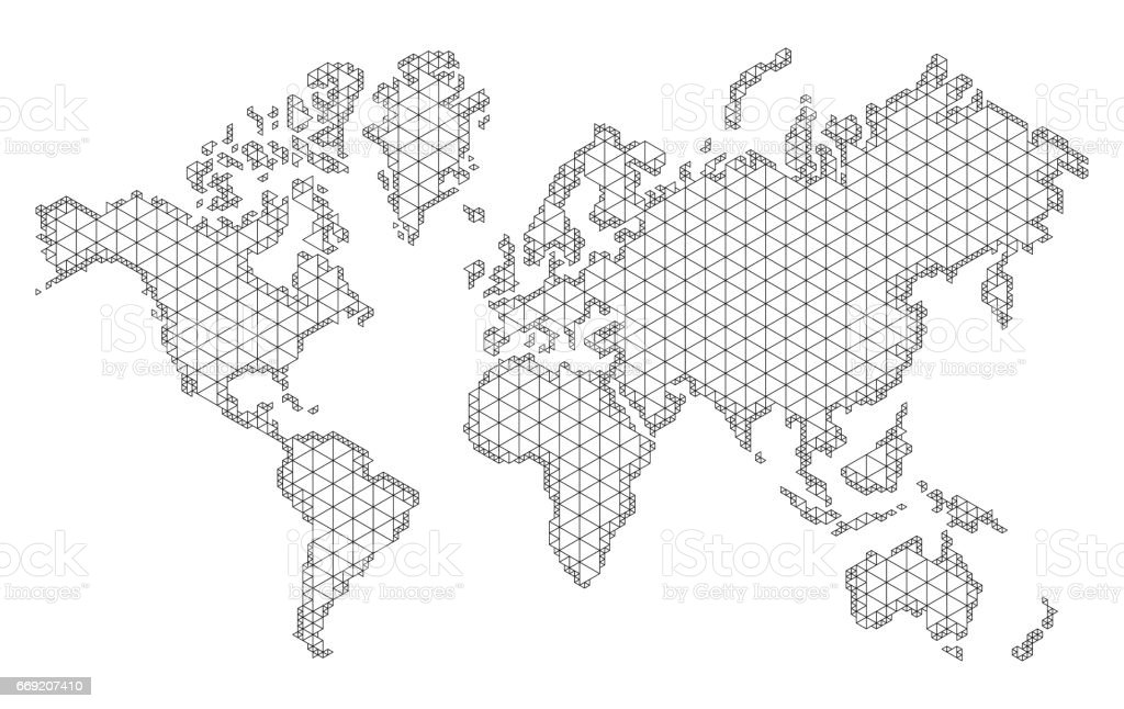 ap Of World With Trendy Triangles Design Polygon Mesh Of Earth