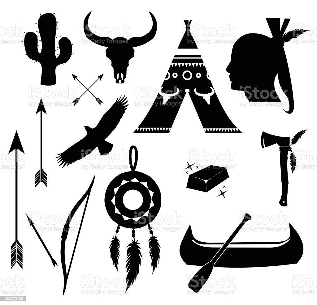 Apache Indische Symbolset Vektorillustration Vektor Illustration
