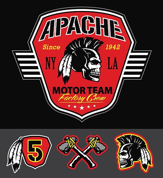 Apache crânio motorteam conjunto de gráficos - ilustração de arte em vetor