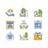 Apartment amenities color icons set. Outdoor furniture, lounge. Dry cleaning, dishwasher, package service. High ceiling building, cottage with garden, car parking. Isolated vector illustrations