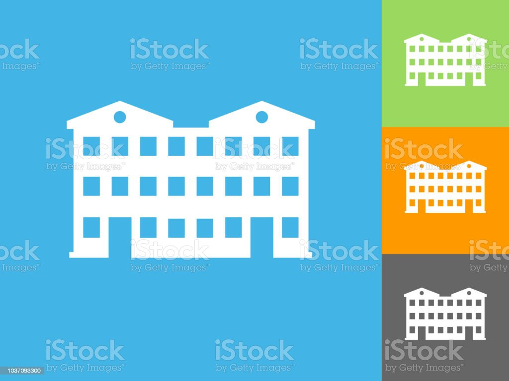 Apartment Building Flat Icon on Blue Background. The icon is depicted...