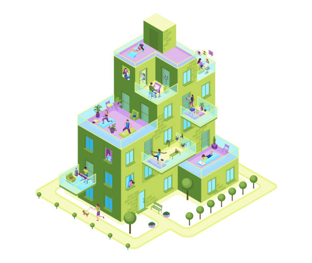 Apartment building in the city with people on balconies stay home and safe, residential house with characters communicating online neighbours, family cooking, girl reading, 3d isometric illustration vector art illustration
