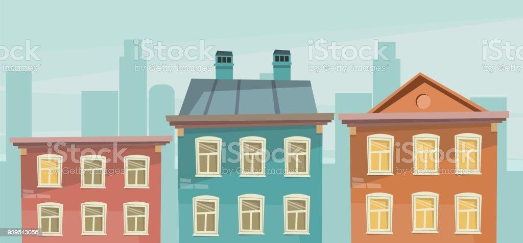 Apartment Building On Street Retro Cartoon Style Royalty Free