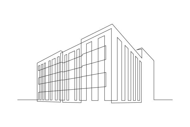Apartment building Multi- storey apartment building, office center or industrial building in continuous line art drawing style. Black linear sketch isolated on white background. Vector illustration architecture illustrations stock illustrations