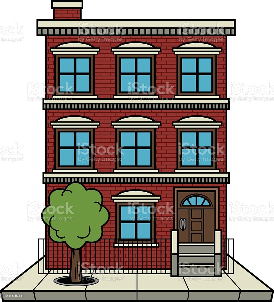 Brick Apartment Building Illustration. Apartment Building royalty free apartment building stock vector art  amp Stock Vector Art More Images of 2015
