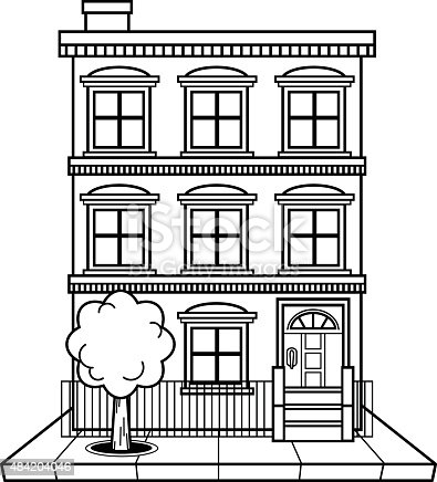 black and white apartment building clip art.  Apartment Building stock vector art 484204046 iStock