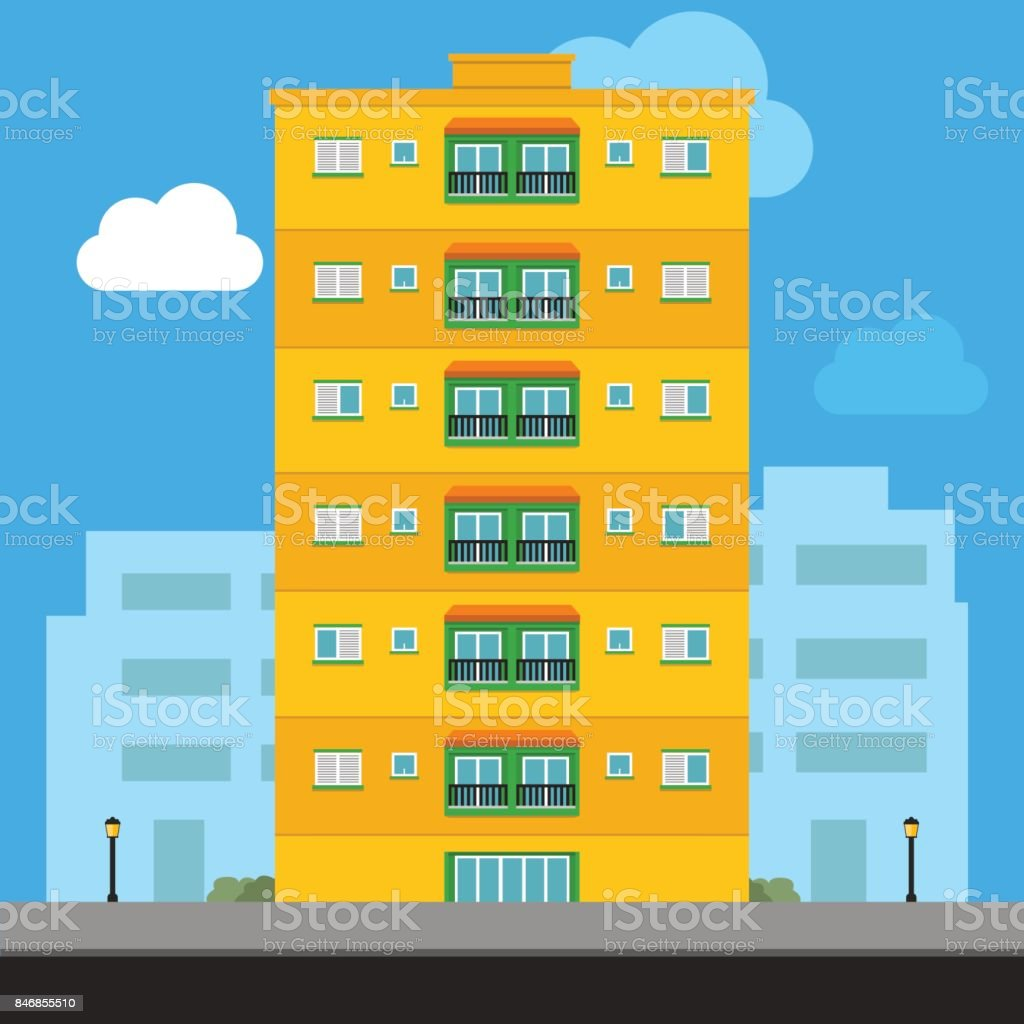 Apartment Building vector illustration vector art illustration