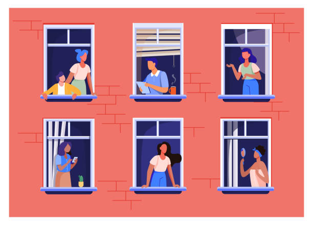 ilustrações de stock, clip art, desenhos animados e ícones de apartment building with people in open window spaces - janela