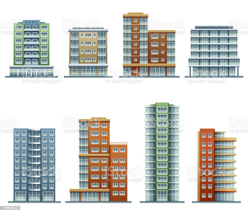 Apartment buildings vector art illustration