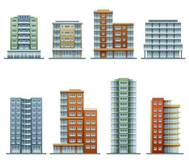 apartment buildings - apartment stock illustrations, clip art, cartoons, & icons