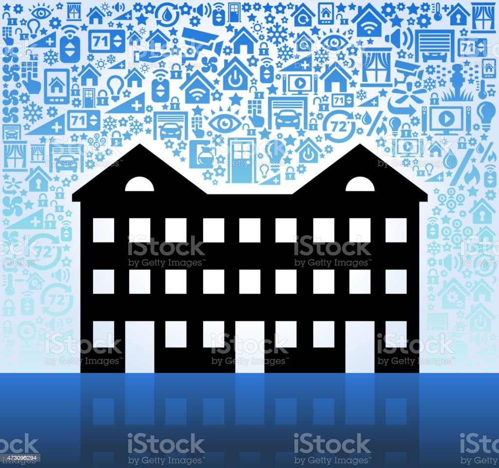 Apartment Complexes: Apartment Complex On Home Automation And Security Vector