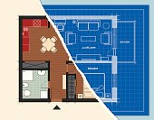 A ground plan of a small apartment. One half colored and the other in blueprint style.