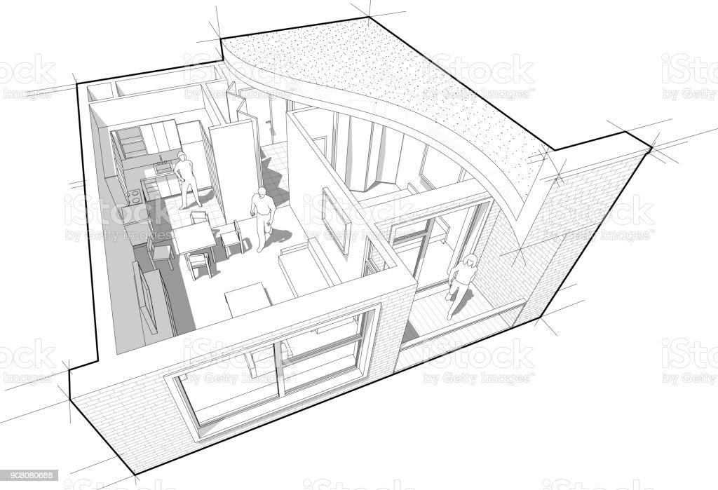 apartment diagram stock illustration