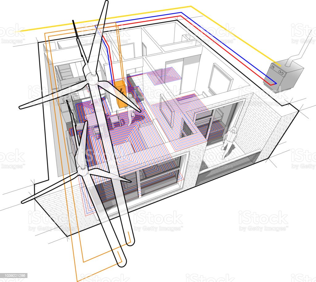 Apartment Diagram With Floor Heating And Gas Water Boiler And ...