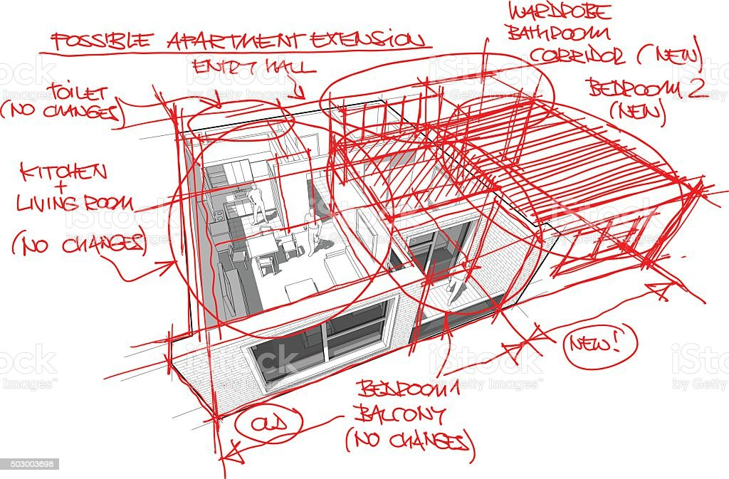 Apartment diagram with hand drawn architect`s sketches vector art illustration