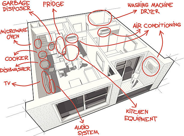 apartment-diagramm mit hand drawn notizen - waschmaschine wand stock-grafiken, -clipart, -cartoons und -symbole