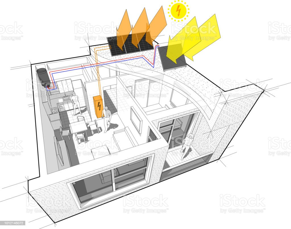 Apartment Diagram With Photovoltaic And Solar Panels Stock Vector Of A Panel Royalty Free