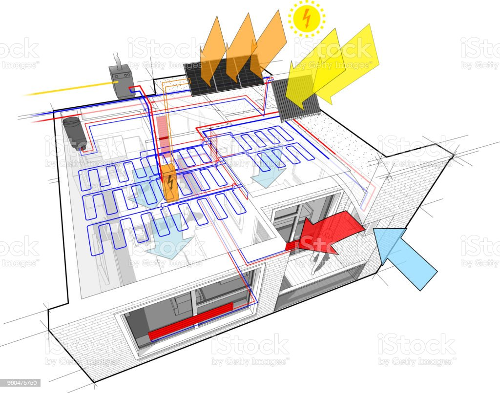 Apartment Radiator Diagram Free Wiring For You Car Royalty Gas Boiler Clip Art Vector Images Parts Cooling System