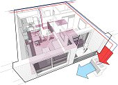 Perspective cutaway diagram of a one bedroom apartment completely furnished with hot water underfloor heating and air source heat pump with central heating system as source of heating energy