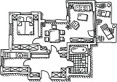 Hand-drawn vector drawing of an generic Apartment Floor Plan. Black-and-White sketch on a transparent background (.eps-file). Included files are EPS (v10) and Hi-Res JPG.