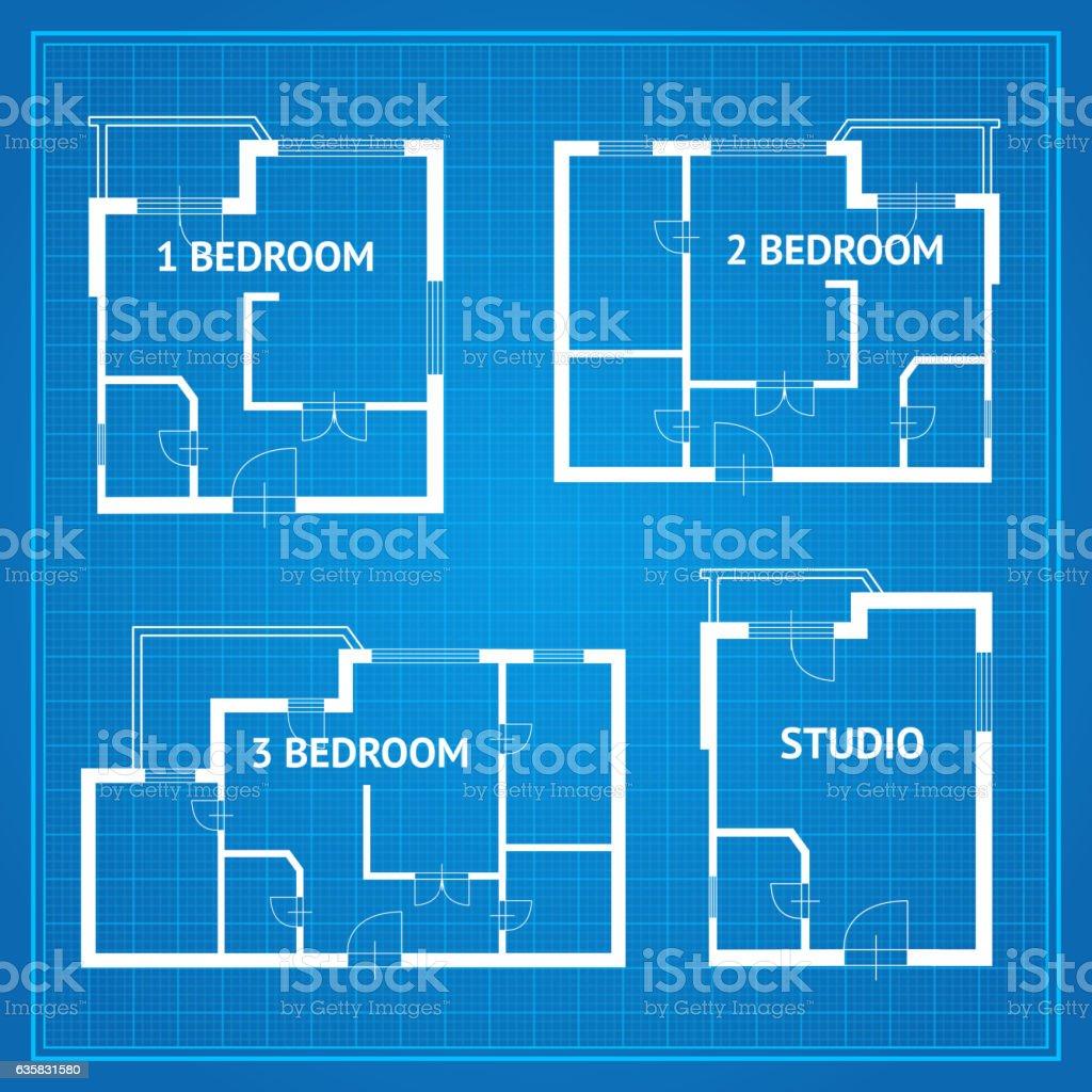 Apartment floor plan set blueprint vector stock vector art more apartment floor plan set blueprint vector royalty free apartment floor plan set blueprint vector malvernweather Choice Image