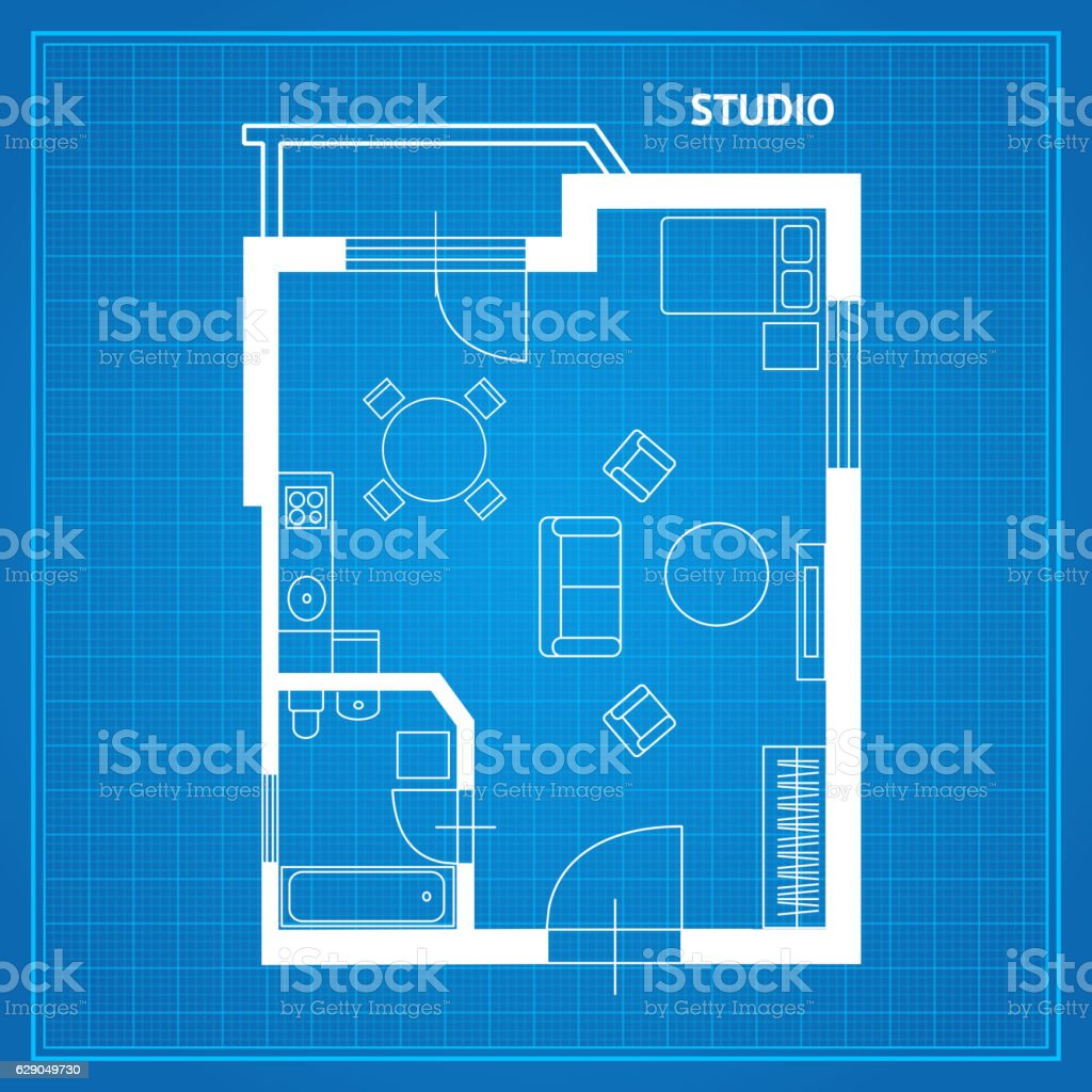 Apartment floor plan studio blueprint vector stock vector art apartment floor plan studio blueprint vector royalty free stock vector art malvernweather Image collections