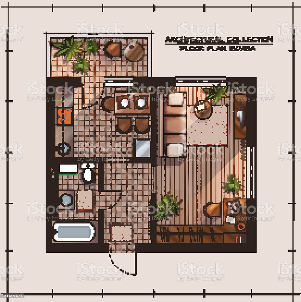Painters Mill Apartments: Apartment Floor Plan Stock Vector Art & More Images Of
