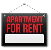 Apartment for rent sign. EPS 10 file. Transparency effects used on highlight elements.