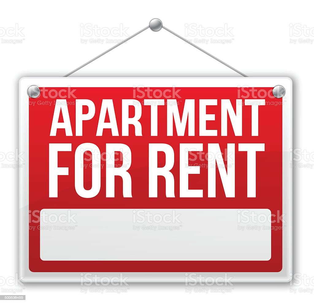 Apartment For Rent Sign vector art illustration