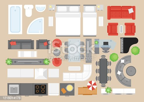 Apartment furniture flat vector illustrations set. Modern style house interior decor design elements pack. Contemporary bedroom, bathroom, kitchen and living room furnishing items top view