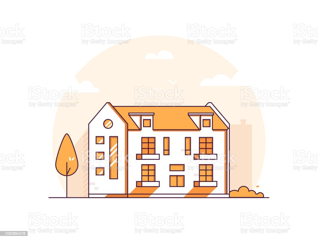 Apartment house - modern thin line design style vector illustration vector art illustration