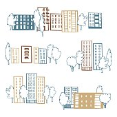 Hand drawn apartment houses and trees. Vector sketch  illustration.