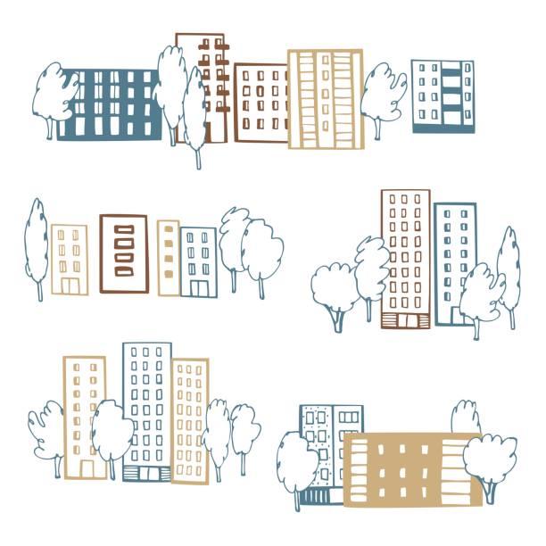 ilustraciones, imágenes clip art, dibujos animados e iconos de stock de casas de apartamentos y árboles. ilustración vectorial. - conceptos y temas