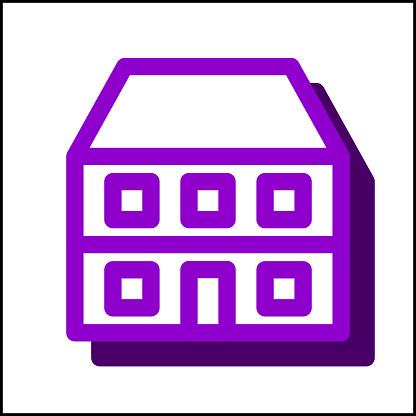 Apartment icon in simple flat design 08