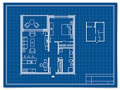 Floor plan of an apartment, with a hallway, living room, kitchen, bedroom, balcony, bathroom and wardrobe.