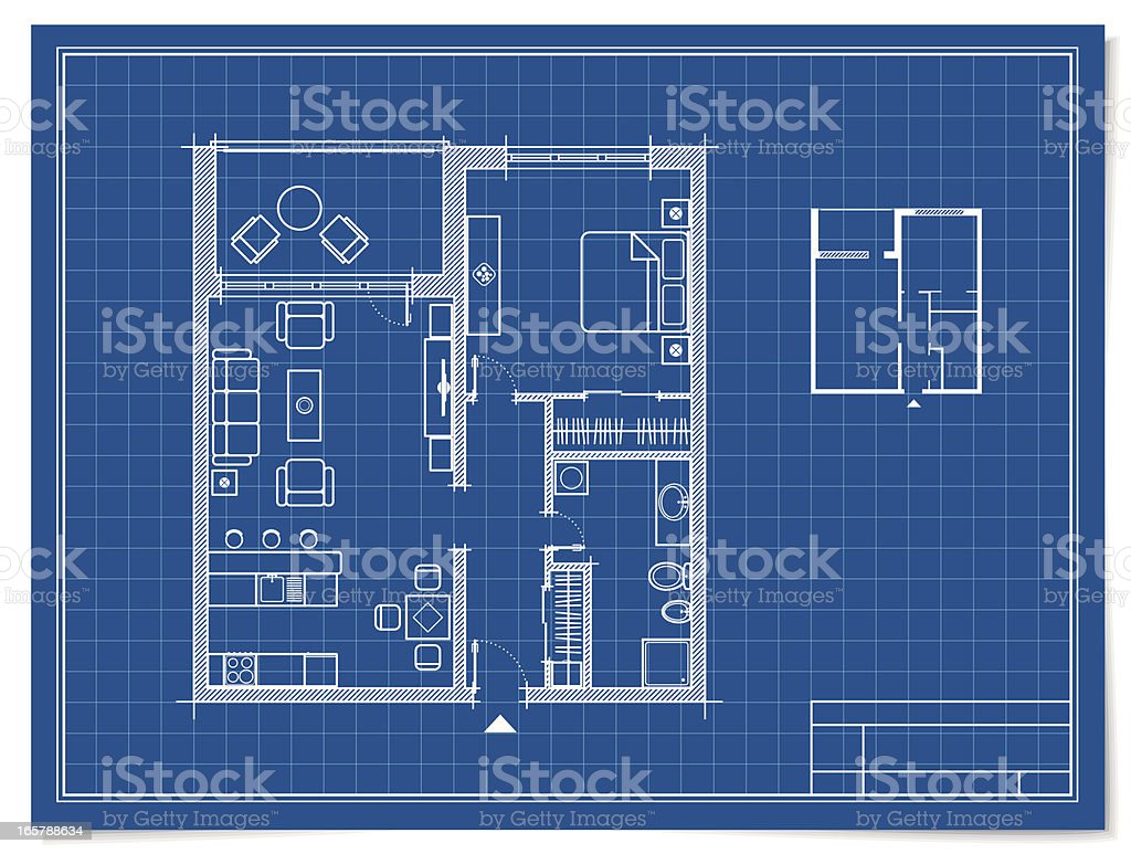 Apartment in Blueprint vector art illustration