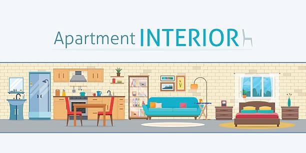 apartment inside - halbwände stock-grafiken, -clipart, -cartoons und -symbole