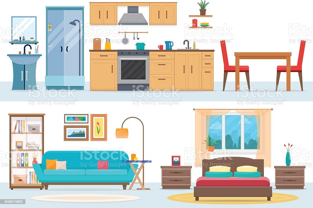 Apartment inside vector art illustration