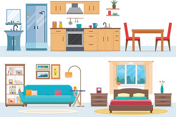 Apartment inside Apartment inside. Detailed modern house interior. Rooms with furniture. Flat style vector illustration. bedroom stock illustrations