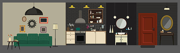 apartment interior in flat style. - rezeptionseingang stock-grafiken, -clipart, -cartoons und -symbole