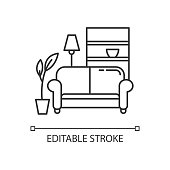 istock Apartment interior pixel perfect linear icon. Living room furniture. Cosy home. Couch, sofa. Thin line customizable illustration. Contour symbol. Vector isolated outline drawing. Editable stroke 1250216591