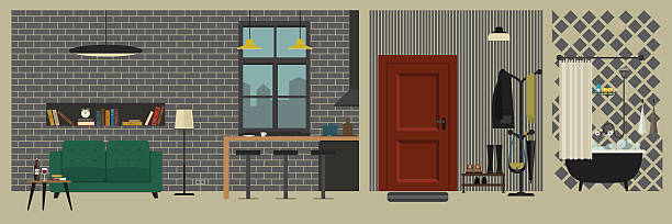 apartment interior with bar in flat style. - rezeptionseingang stock-grafiken, -clipart, -cartoons und -symbole