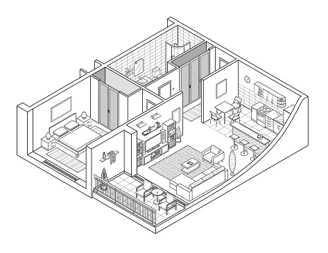 Apartment Isometry Line Drawing